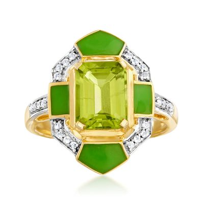 Ross-Simons Peridot and . White Topaz Ring in 18kt Gold Over Sterling With Green Enamel
