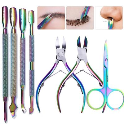 Nail Cuticle Pusher Stainless Steel Rainbow Tweezer Clipper Dead Skin Remover Scissor Plier  Nail Art Tool