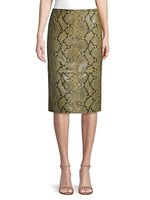 Lafayette 148 New York Casey Stretch Snake-Print Pencil Skirt