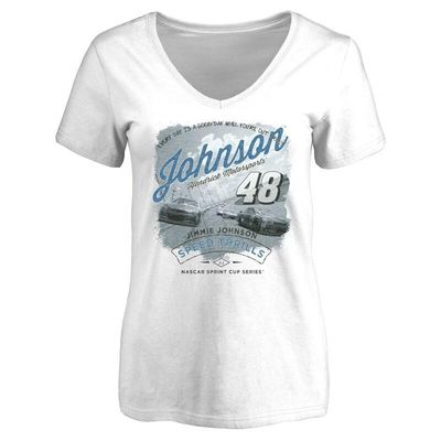 Jimmie Johnson Women's Authentic Fan V-Neck T-Shirt - White