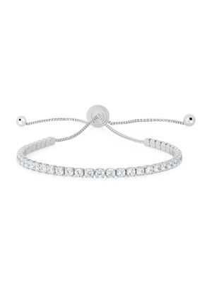 Chloe & Madison Rhodium-Plated Sterling Silver & Cubic Zirconia Bolo Bracelet