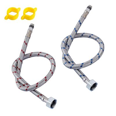 G1/2 G3/8 G9/16 50cm 1 pair Stainless Steel Flexible Plumbing Pipes Cold Hot mixer Faucet Water supply pipe Hoses bathroom part