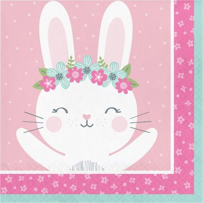 Bunny Party Paper Lunch Napkins 48 Count for 24 Guests