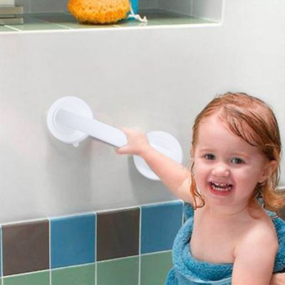 Vacuum Suction Cup Handrail White Bathroom Super Grip Safety Grab Bar Handle for Glass Door of Kitchen, Bathroom, Living Room