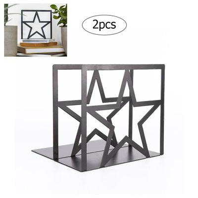 2Pcs Metal Bookends Nonskid Heavy Duty Book Ends Support Book Stopper for School/Office/Home/Library