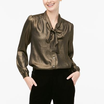 J.Crew Factory Petite Long-sleeve Bow Top With Foil Stripe