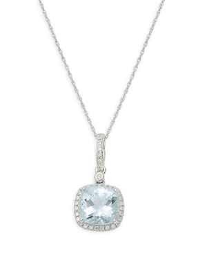 Saks Fifth Avenue 14K White Gold Aquamarine & Diamond Square Pendant Necklace