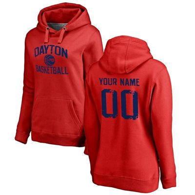 Dayton Flyers Women's Personalized Distressed Basketball Pullover Hoodie - Scarlet