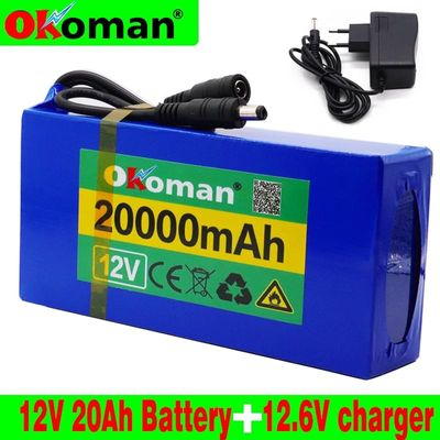 High Quality Super Rechargeable Portable Lithium-ion Battery DC 12V 20000mAh With US or EU Plug 12.6v 20Ah battery pack+charger