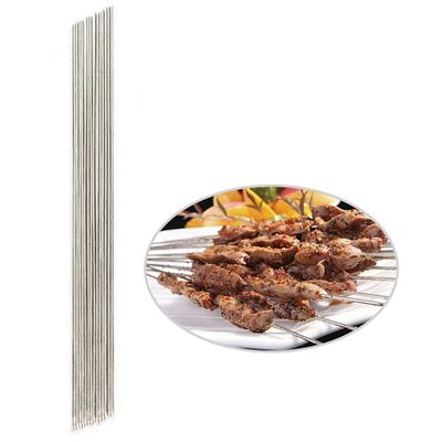 30 Pcs BBQ Sticks Needle Stainless Steel Flat Barbecue Forks Picnic Tool Skewers Utensil Cooking Iron Kitchen Meat Holder