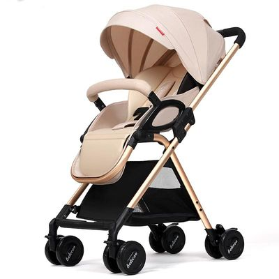 Lightweight Baby Stroller Golden Color Baby Pram Light Baby Pushchair Brown Baby Cart Portable Stroller Free Shipping