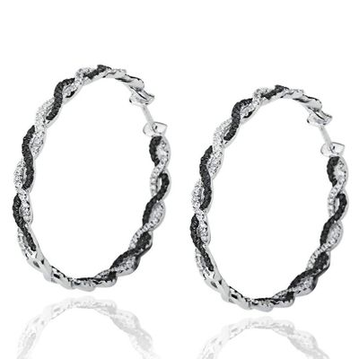 Suzy Levian Pave Cubic Zirconia Sterling Silver Infinity Twisted Hoop Earrings