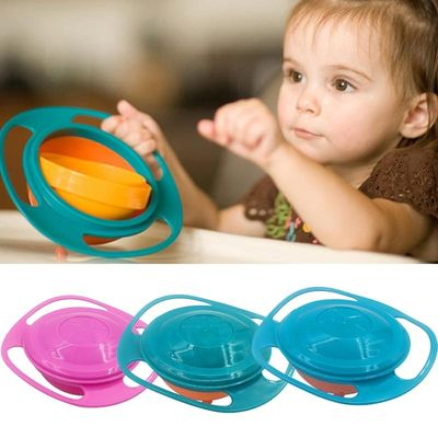 Universal Gyro Training Bowl Practical Design Children Rotary Balance Novelty 360 Degrees Rotate Spill-Proof Baby Feeding Dishes