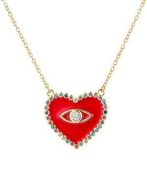 Eye Candy LA 18K Goldplated Sterling Silver & Cubic Zirconia Evil Eye Heart Pendant Necklace
