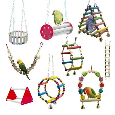 1 pcs Bird Cage Bird Toys Accessories Colorful Solid Wood Bird Chew Toy Parrots Toys Accessory Standing Chews Birds Nest