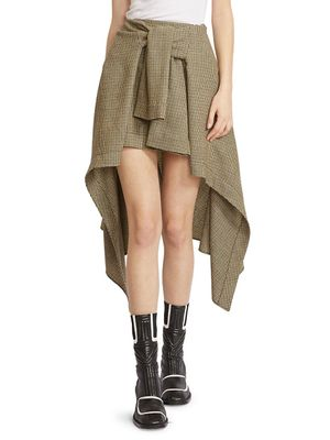 Chloe High-Low Plaid Virgin Wool Skirt
