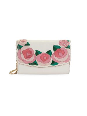 Dolce & Gabbana Rose Leather Wallet-On-Chain Crossbody Bag