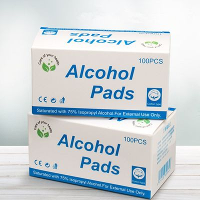 100Pcs/Box New Portable Alcohol Swabs Pads Wet Wipes Antiseptic Cleanser Cleaning Sterilization First Aid Home Makeup Wipes