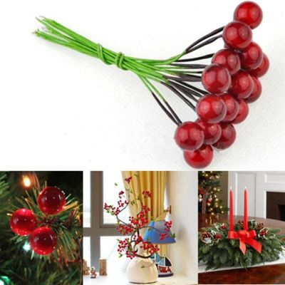 30pcs Artificial Fruits Red Foam Ball And Wire Cherry Artificial Fruit For Home Decoration