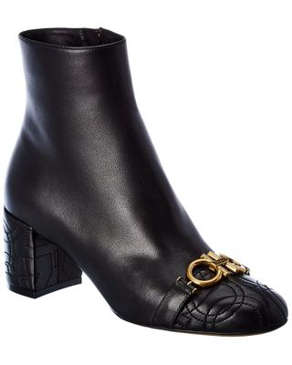 Salvatore Ferragamo Primula Gancini Quilted Leather Bootie