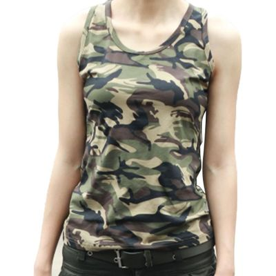 New Women Cotton Sleeveless Army Camouflage Tank Top O-neck Slim Shirt Mini Vest