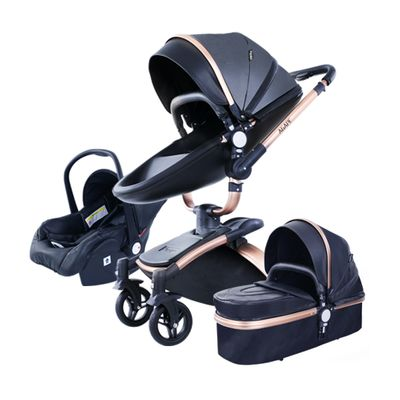 Free Shipping PU Leather 3 in 1 Baby Stroller High Landscape Portable Luxury Carriage Aulon Pram on 2020