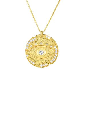 Chloe & Madison 18K Goldplated sterling Silver & Crystal Evil Eye Pendant Necklace