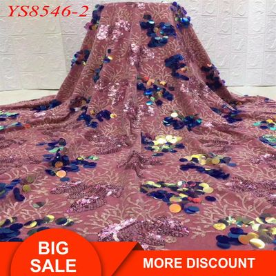 The latet high quality fashion style embroidery velvet with sequins stretch mesh fabric 5 yards party cloth
