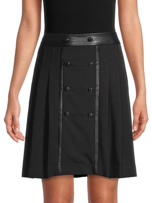 Karl Lagerfeld Paris Button-Front Pleated Skirt