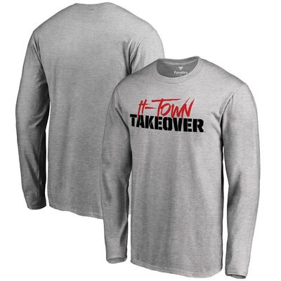 Houston Cougars H-Town Takeover Long Sleeve T-Shirt - Heather Gray