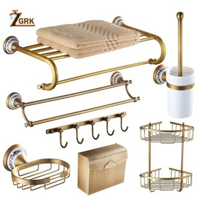 ZGRK Antique Bathroom Blue and White Porcelain Accessories Carved Copper-Alloy Hardware Set Wall Mounted Bathroom Hardware Kit