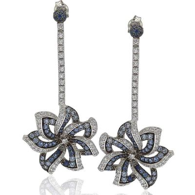 Suzy Levian Sapphire and Diamond Accent in Sterling Silver Earrings