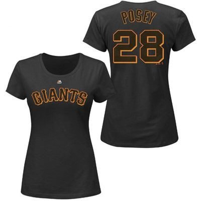 Buster Posey San Francisco Giants Majestic Women's Plus Size Name & Number T-Shirt - Black