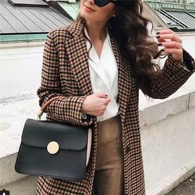 Fashion Double Breasted Plaid Blazer Women Long Sleeve Slim OL Blazer Casual Autumn Jacket Blazer Female Retro Elegant Pretty