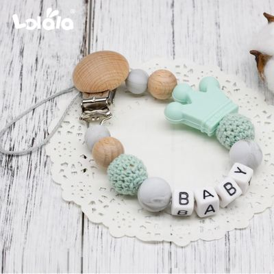 DIY Silicone Personalised Name Baby Pacifier Clips, Funny Pacifier Chain with Mouse Holder for Baby, Baby Shower Gift BPA Free