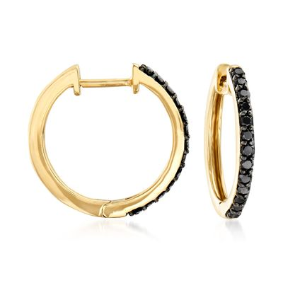 Ross-Simons Black Diamond Hoop Earrings in 14kt Yellow Gold