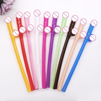 10 pcs Drinking penis straws Bridal Shower Sexy Hen Night Willy Penis Novelty Nude Straw for Bar Bachelorette Party supplies