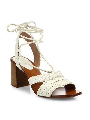 Michael Kors Collection Lawson Ankle-Wrap Woven Leather Sandals
