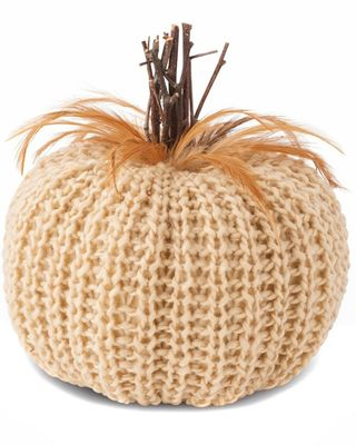 K&K Interiors 7.5in Cream Crochet Pumpkin with Wood Stem and Feathers