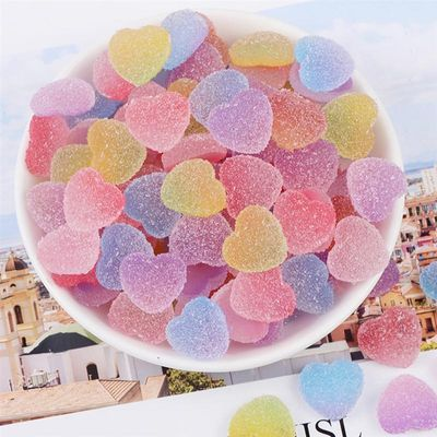 100pcs Simulation Jelly Candy Heart Shape Resin Candies DIY Accessories For Phone Cover Decor (Colorful Mixed Color)