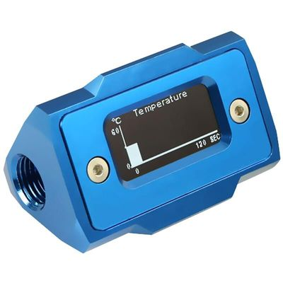 Oled Digital Display Water Temperature Meter Water Cooler System Double G1/4 Inch Thermometer Temperature Sensor Fitting(Blue)