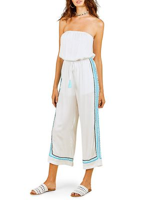 Surf Gypsy Strapless Wide-Leg Jumpsuit Coverup