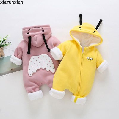 Newborn Cute Ear Hooded Baby coat For Boys baby girl clothes winter 2019 Plus thick Coral fleece Clothing Jumpsuit baby jacket