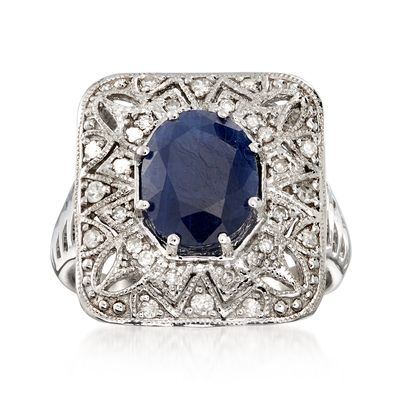 Ross-Simons Sapphire and . Diamond Openwork Ring in Sterling Silver
