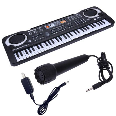 61 Keys Electronic Organ Digital Piano Keyboard with Microphone Electric Piano Kid Children Gift Develop Child's Talents US Plug