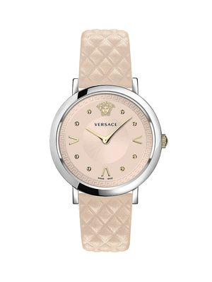 Versace Pop Chic Stainless Steel Leather-Strap Watch