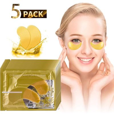 5 Pair 24K Gold Crystal Collagen Eye Mask Eye Patches For Eye Care Dark Circles Remove Anti-Aging Wrinkle Skin Care