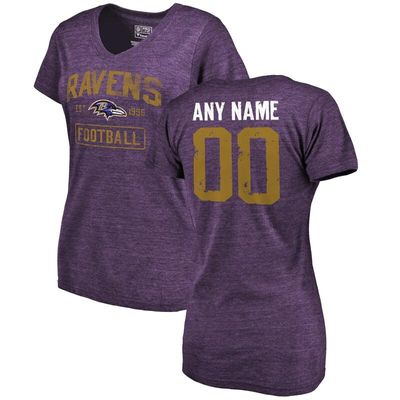 Baltimore Ravens NFL Pro Line by Fanatics Branded Women's Distressed Personalized Tri-Blend V-Neck T-Shirt - Purple