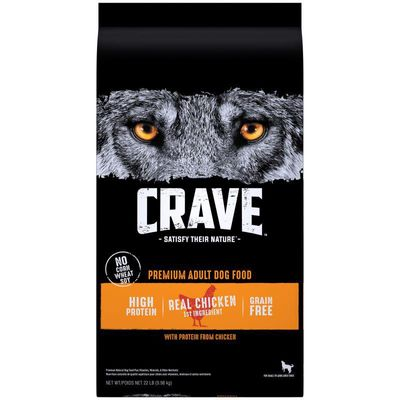 CRAVE High Protein Adult Grain Free Natural Dry Dog Food With Protein from Chicken, 22 lb. Bag