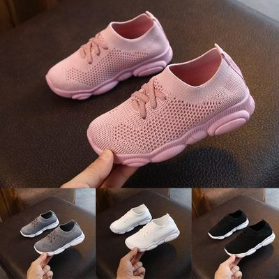 New Baby Sneakers 2020 Fashion Children Flat Shoes Infant Kids Baby Girls Boys Solid Stretch Mesh Sport Run Sneakers Shoes